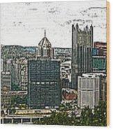Pittsburgh Panorama Artistic Brush Wood Print