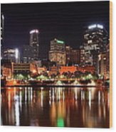 Pittsburgh Panorama Wood Print by Frozen in Time Fine Art Photography