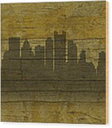 Pittsburgh Pennsylvania City Skyline Silhouette Distressed On Worn Peeling Wood No Name Version Wood Print