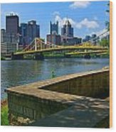 Pittsburgh Pennsylvania Skyline And Bridges As Seen From The North Shore Wood Print