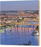 Pittsburgh Pennsylvania Skyline At Dusk Sunset Extra Wide Panorama Wood Print
