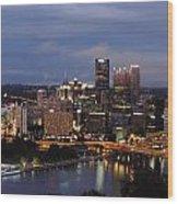 Pittsburgh Skyline At Dusk From Mount Washington Wood Print