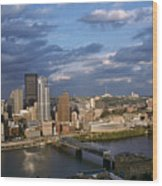 Pittsburgh Skyline At Dusk Wood Print