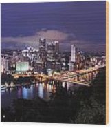 Pittsburgh Skyline At Night From Mount Washington 3 Wood Print