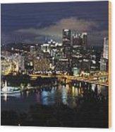 Pittsburgh Skyline At Night From Mount Washington 4 Wood Print