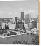 Pittsburgh Skyline From Mount Washington Black And White Wood Print