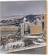 Pittsburgh's First Snow Of 2015 Wood Print