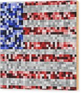 Pixel Flag Wood Print
