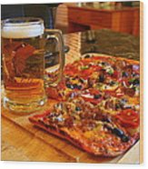Pizza And Beer Wood Print