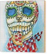 Pizza Sugar Skull Wood Print