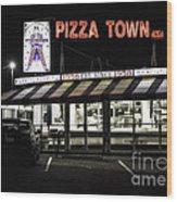 Pizza Town Wood Print