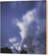 Pl Mountain And Clouds Wood Print