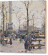 Place De La Bastille Paris Wood Print by Eugene Galien-Laloue
