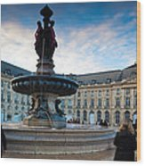 Place De La Bourse Buildings At Dusk Wood Print