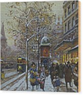 Place De La Republique Paris Wood Print by Eugene Galien-Laloue