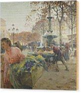 Place Du Theatre Francais Paris Wood Print by Eugene Galien-Laloue