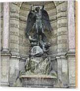 Place Saint Michel Statue And Fountain In Paris France Wood Print