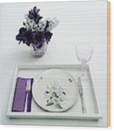 Place Setting With With Flowers Wood Print