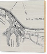 Plan Of Part Of The City Of Valparaiso Wood Print