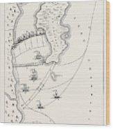 Plan Of The Defeat Of The American Fleet, Under Benedict Wood Print