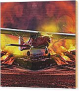 Plane And Fire Wood Print