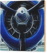 Plane Blue Prop Wood Print by Paul Ward