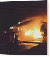 Plane Burning Wood Print