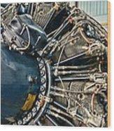 Plane Engine Close Up Wood Print