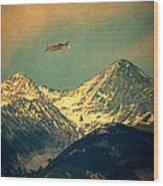Plane Flying Over Mountains Wood Print