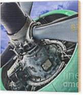 Plane Green Prop Wood Print