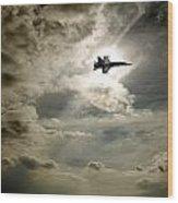 Plane In Flight Wood Print