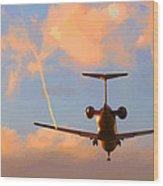 Plane Landing Wood Print