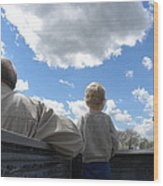 Plane Viewing From The Truck Bed Wood Print by Sheri Lauren Schmidt