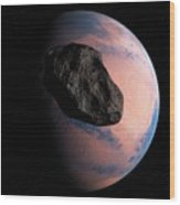 Planet And Asteroid In Space Wood Print