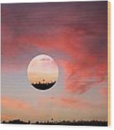 Planet And Sunset Wood Print