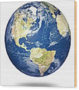 Planet Earth On White - America Wood Print by Johan Swanepoel