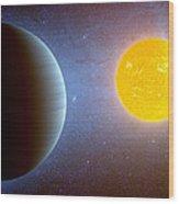 Planet Kepler10 Stellar Family Portrait Wood Print