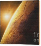 Planet Mars Close-up With Sunrise Wood Print