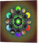 Planetary Metatron Zodiac Wood Print