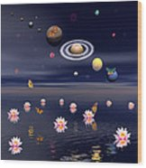 Planets Of The Solar System Surrounded Wood Print