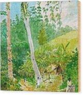 Plantain Walk Watchman And Hut Wood Print