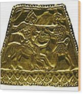Plaque With Scythian Warriors. Gold Wood Print