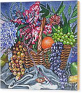 Plastic Fruits And Flowers Wood Print