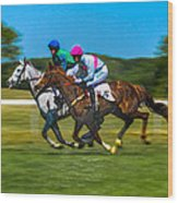 Plastic Wrapped Steeplechase Wood Print