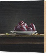 Plate With Plums Wood Print