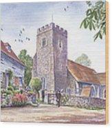 Plaxtol Church Wedding Wood Print