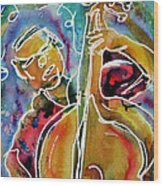 Play The Blues Bass Man Wood Print