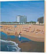 Playa De La Barceloneta Wood Print