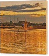 Playa Lake At Sunset Wood Print