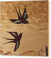 Playful Swallows Original Coffee Painting Wood Print